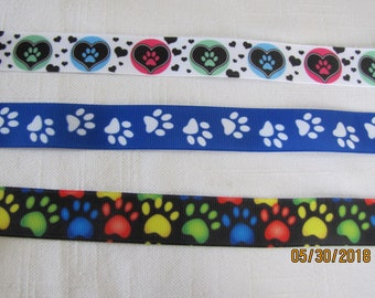 "Doggie Paws 7/8"" Grosgrain Ribbon by the Yard"