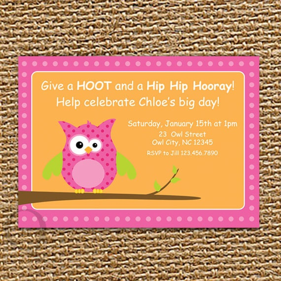 Owl Invitation Birthday Baby Shower Printable Party Invite First