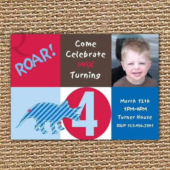 Dinosaur Birthday Printable Invitation Party Custom Photo Boy