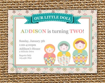 Matroyshka Doll, Birthday Party,  Russian Nesting Doll, Babushka Doll, Doll Invitation, Russian Doll Party, Printable Invitation, DIY
