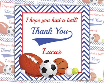 Printable Sports Thank You Tags, Sports Favor Tags, Custom Tags, All-Star Birthday, Sports Birthday, Football Party, Gift Tag