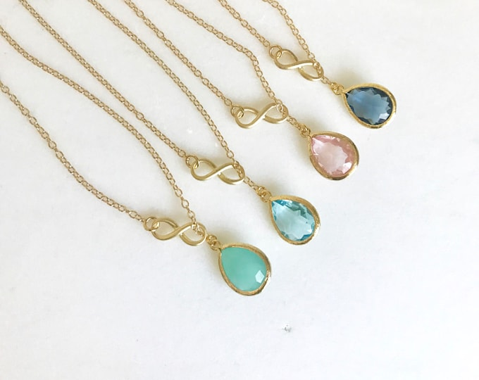 Wedding Necklace. Custom Bridesmaids Jewelry. Infinity Lariat Necklace. Necklace. Bridesmaids Gift. Stone Teardrop. CHOOSE COLOR stone. Gift