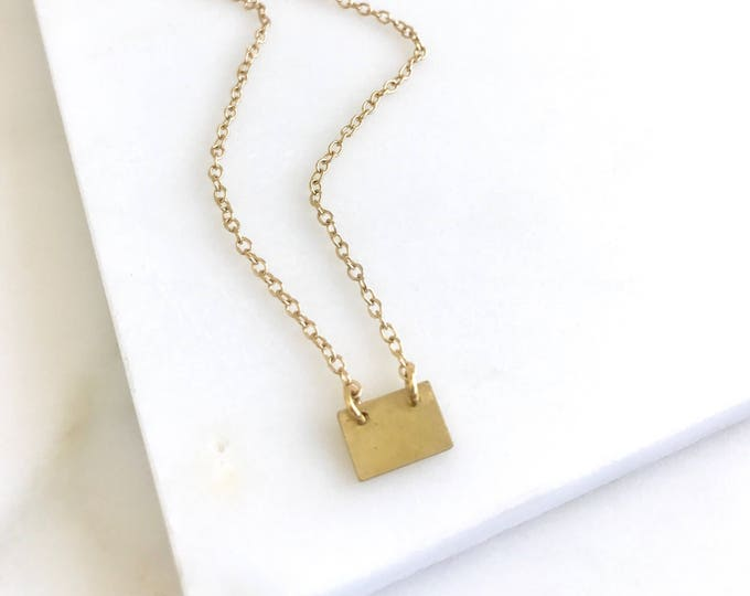Simple Gold Layering Necklace.  Everyday Gold Tab Pendant Necklace. Dainty Gold Tab Necklace. Gift for Her. Layering Necklace.