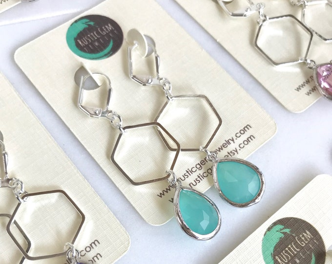 Simple Drop Earrings.  Silver Hexagon Teardrop Drop Earrings.  Gift for Her.  Dangle Earrings. Modern Drop Earrings. Christmas Gift. Holiday