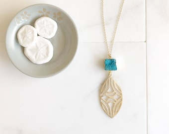 Blue Druzy Pendant Necklace in Gold. Long Bohemian Necklace. Long Druzy Necklace in Blue and Coral. Boho Jewelry. Gift.