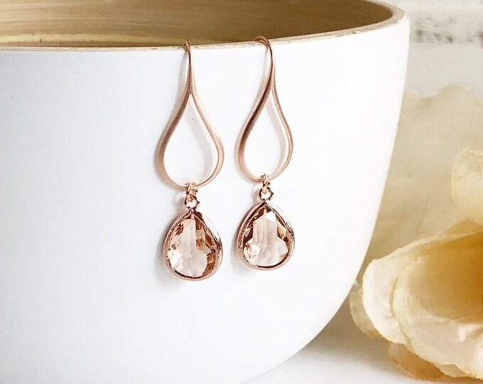 Rose Gold Champagne Drop Earrings. Champagne Teardrop Drop Earrings. Gift for Her.  Dangle Earrings. Modern Drop Earrings. Christmas Gift.
