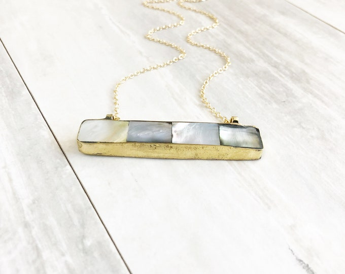 Simple Shell Bar Necklace in Gold. Shell Necklace. Everyday Gold Bar Necklace.  Gold Bar Necklace. Layering Necklace. Jewerly Gift.