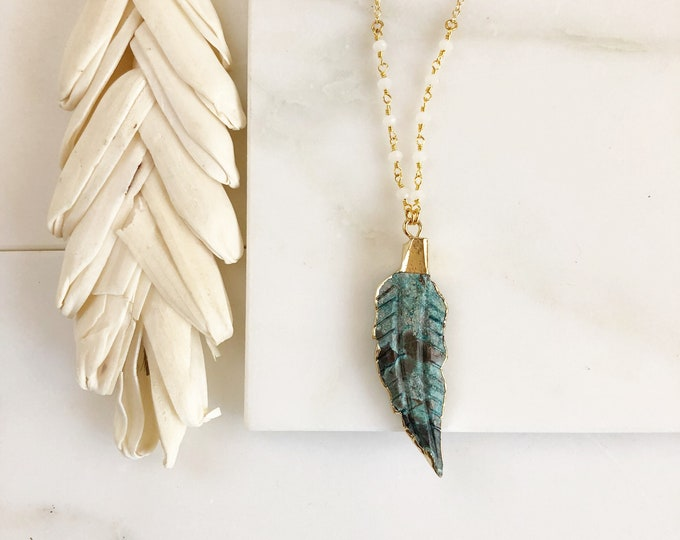 Long Teal Stone Leaf Necklace. Teal Long Layering Necklace. Long Stone Feather Necklace. Beaded Necklace. Jewelry. Boho Jewelry.