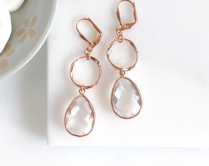 Rose Gold Hoop Earrings. Statement Earrings. Long Rose Gold Earrings with Clear Stone. Rose Gold Earrings. Rose Gold Jewelry. Gift.