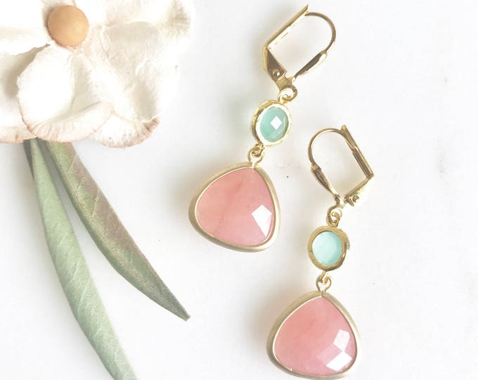 Coral Pink Teardrop and Aqua Jewel Dangle Earrings in Gold. Gift. Bridesmaid Earrings. Drop Earrings. Holiday Jewelry. Christmas Gift.
