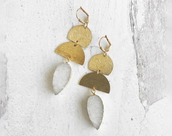 White Druzy Statement Earrings with Brushed Brass Accents. Gold Geometric Dangle Earrings with White Crystal