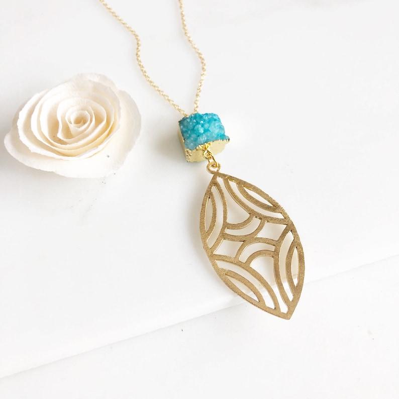 0d1a1dcc0 Long Aqua Blue Druzy and Marquise Gold Pendant Necklace. | Etsy