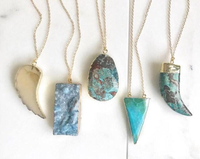 Long Stone Necklace. Long Boho Necklace. Long Gold Gemstone Necklace. Wing, Horn, Stone Necklace. Unique Jewelry. Christmas Gift. Pendant.