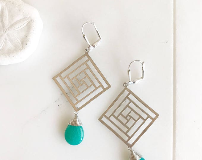 Geometric Chandelier Earrings.  Silver Teal Dangle Earrings.  Statement Earrings. Jewelry Gift. Fashion Drop Earrings. Chandelier Earrings.