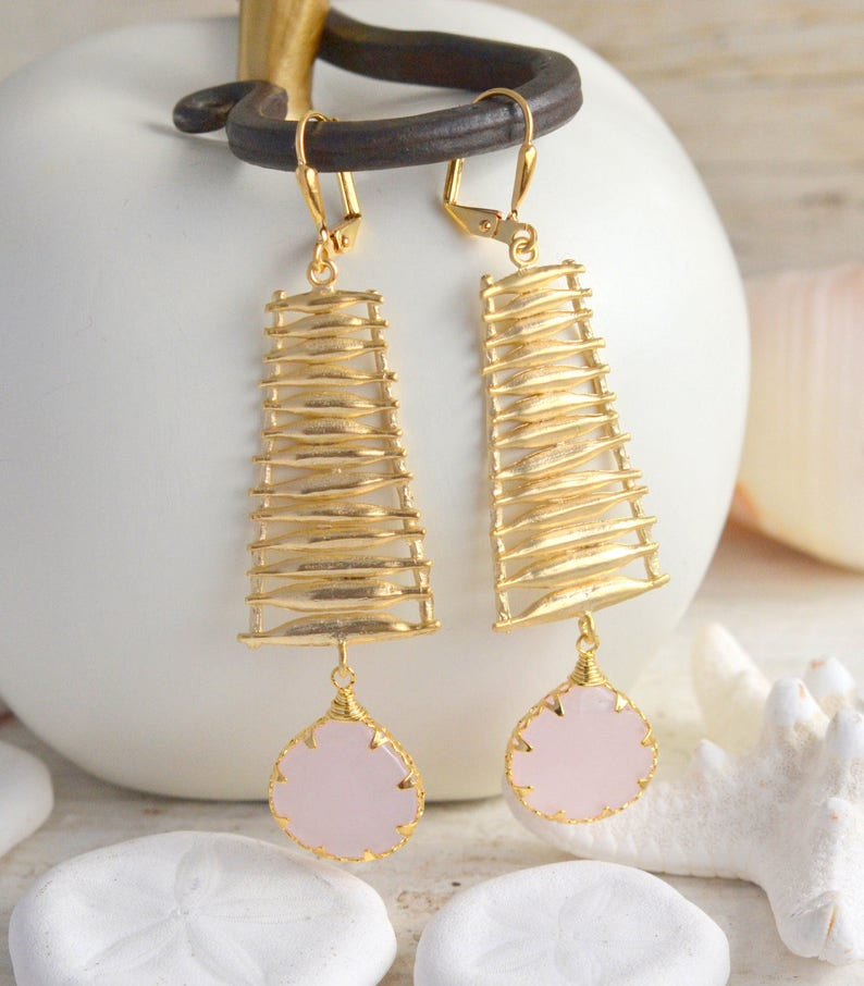 Gold Statement Earrings Jewelry Gift. Pink Statement Earrings Pink Earrings Long Pink Earrings Statement Jewelry