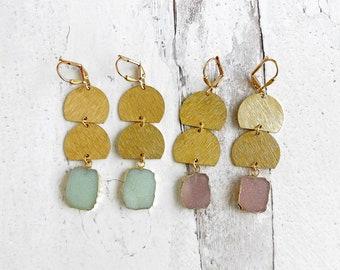 Pink Blue Druzy Brushed Brass Dangle Earrings. Statement Dangle Earrings. Geometric Jewelry