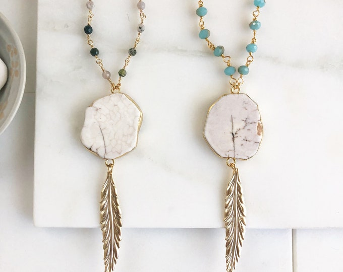 Long Gold Feather Necklace. Layering Necklace. White Stone Feather Necklace. Beaded Necklace. Jewelry. Boho Jewelry. Gold Aqua Necklace.