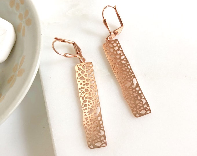 Small Rose Gold Rectangle Earrings.  Drop Earrings. Dangle. Geometric. Simple. Jewelry Gift for Her.  Gift. Rose Gold Jewelry.