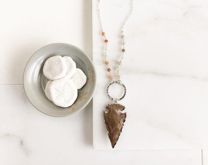 Brown Arrowhead Pendant Necklace. Long Silver Circle Arrowhead Necklace. Brown Arrowhead with Beaded Chain. Boho Pendant Necklace. Gift.