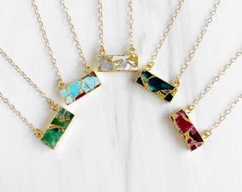 Gold Mojave Turquoise Bar Necklaces. Simple Gold Gemstone Bar Necklace. White Green Fuchsia Blue Teal Pendant Necklace