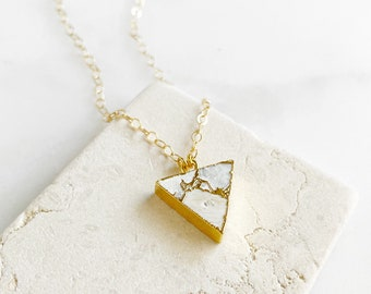White Triangle Stone Choker Necklace in Gold. White Mojave Turquoise Necklace. Simple White Gemstone Layering Necklace