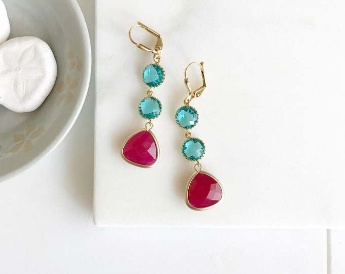Earrings Fuchsia and Teal Jewel Dangle Earrings in Gold. Gift. Bridesmaid Earrings. Drop Earrings. Jewelry. Gift for Her.
