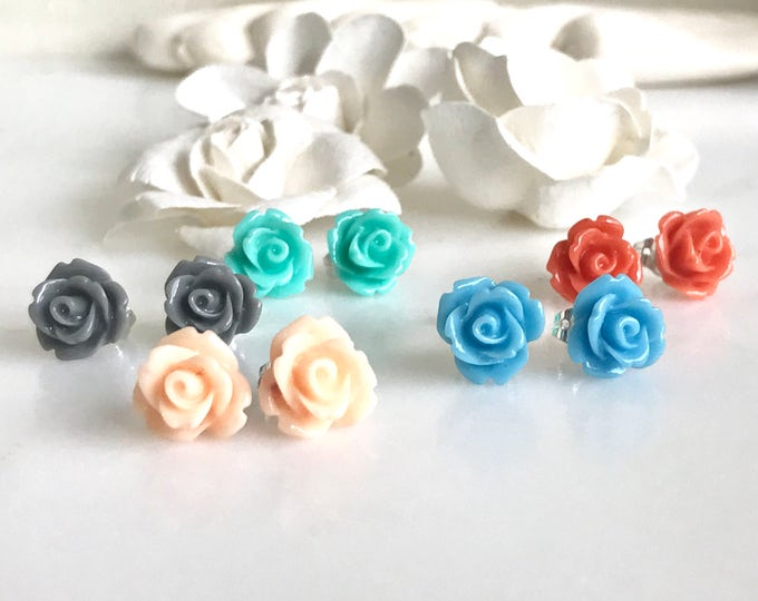 Rose Stud Earrings. Flower Post Earrings. Bridesmaids Earrings. Flower Girl Earrings.