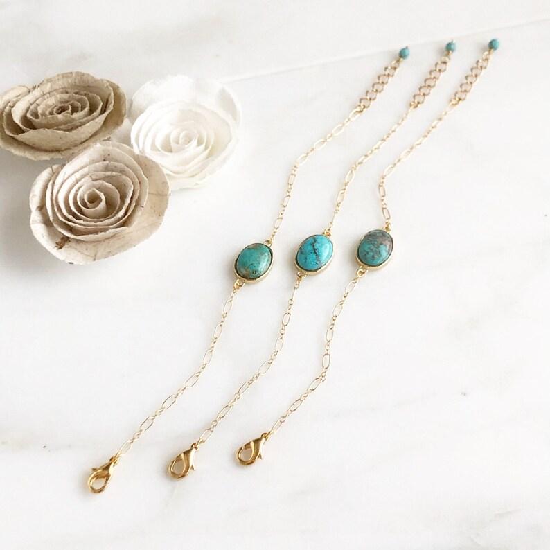 Blue Teal Stone. Boho Bracelet Unique Gift Turquoise Stone Gold Chain Bracelet Gemstone Bracelet