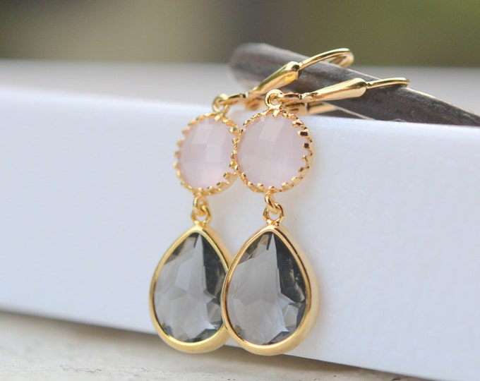 Bridesmaids Earrings in Charcoal Gray and Pink. Wedding Earrings. Bridal Jewelry. Pink Gold Bridesmaid Earrings. Jewelry Gift. Wedding.