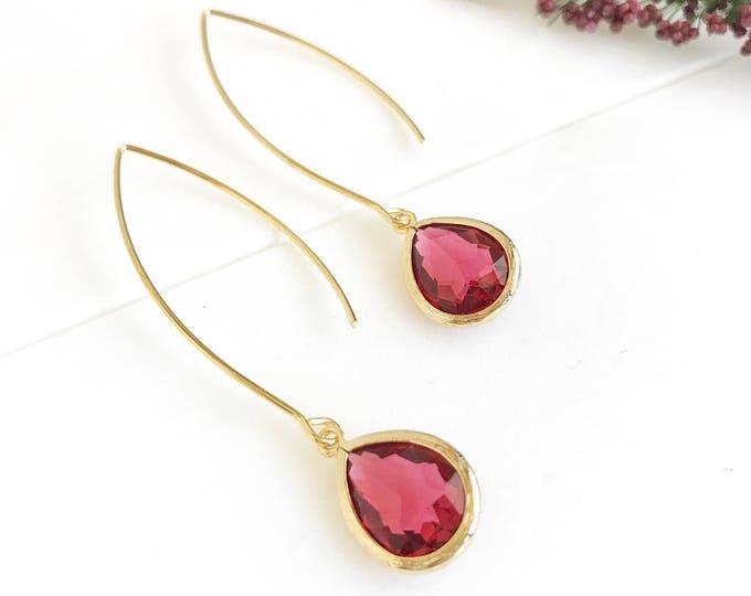Ruby Red Teardrop Dangle Earrings. Red Drop Earrings. Red Dangle Earrings. Christmas Gift. Holiday Jewelry. Stocking Stuffers. Gift.