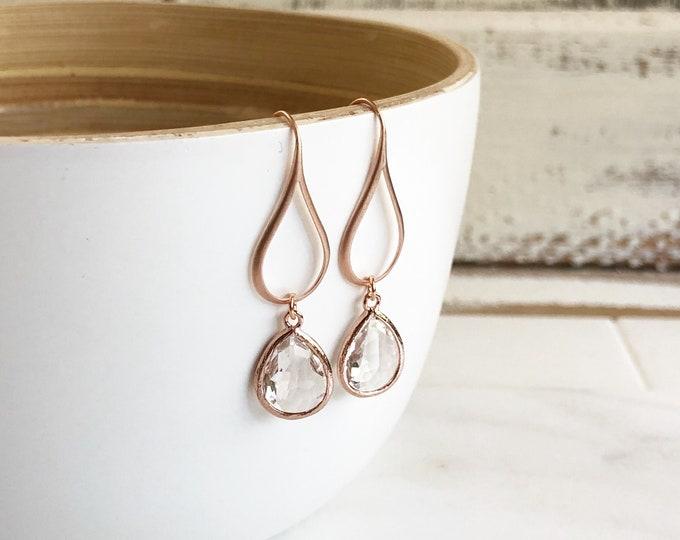 Rose Gold Crystal Clear Drop Earrings. Clear Teardrop Drop Earrings. Gift for Her.  Dangle Earrings. Drop Earrings. Bridesmaids Jewelry.
