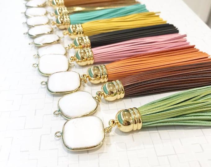 Tassel Necklace. Leather Tassel Necklace. White Stone and  Turquoise Orange Aqua Tassel Necklace. Long Tassel Necklace. Boho Tassel Jewelry.