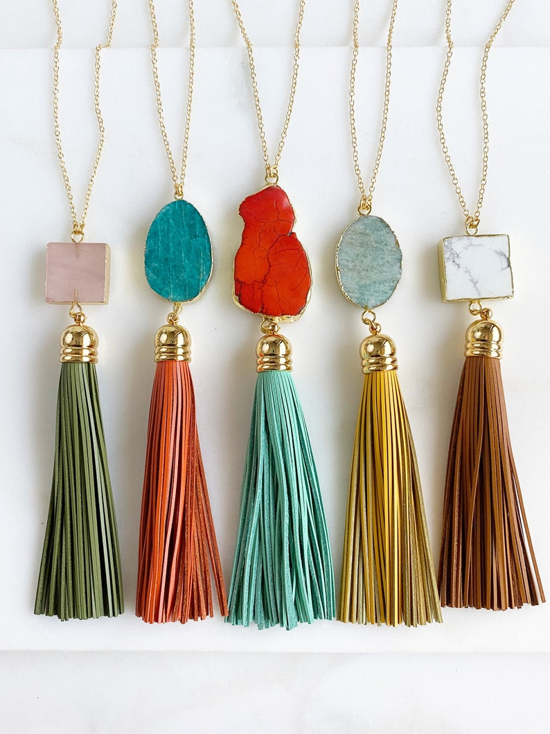 Tassel Necklace. Leather Tassel Necklace. Turquoise Orange image 0