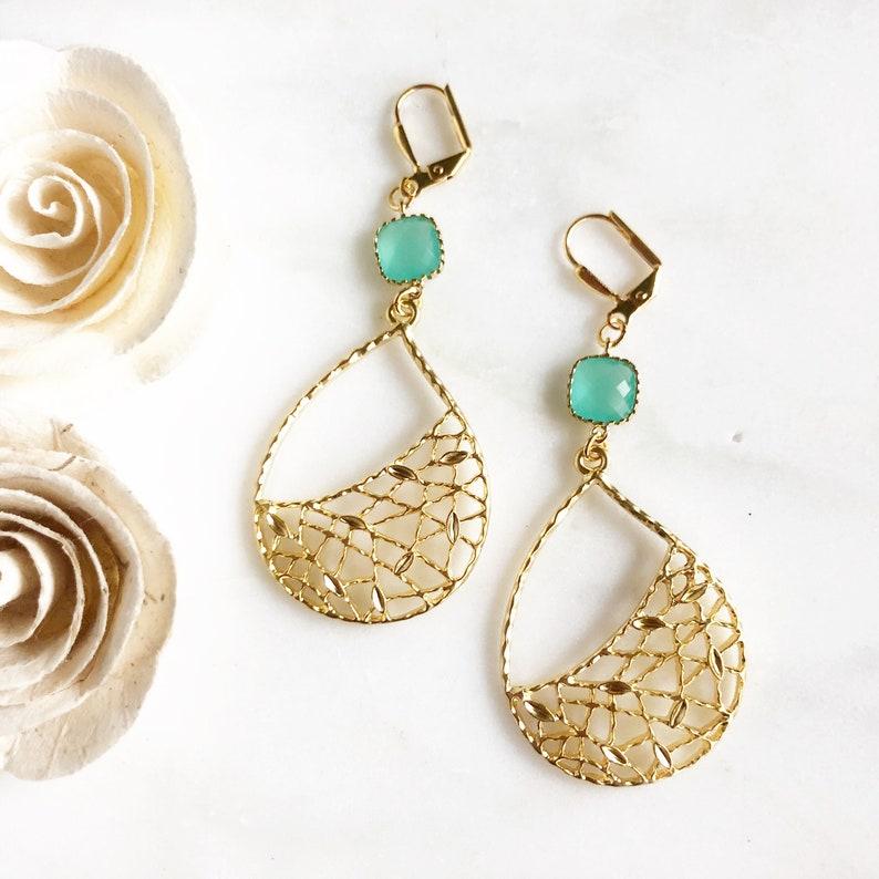 Turquoise Chandelier Earrings.  Dangle Earrings.  Statement Gold