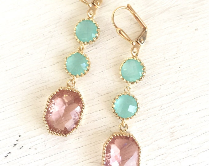 Earrings Peach Champagne and Aqua Dangle Earrings. Drop Earrings. Long Earrings. Statement Earrings. Bridesmaids Earrings. Wedding Earrings.