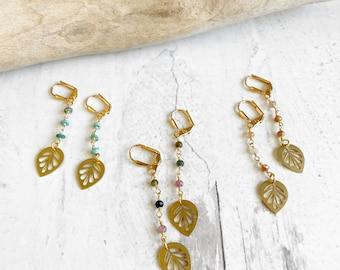 Sweet Leaf Dangle Earrings in Gold. Long Gemstone Beaded Earrings. Boho Plant Dangle Earrings