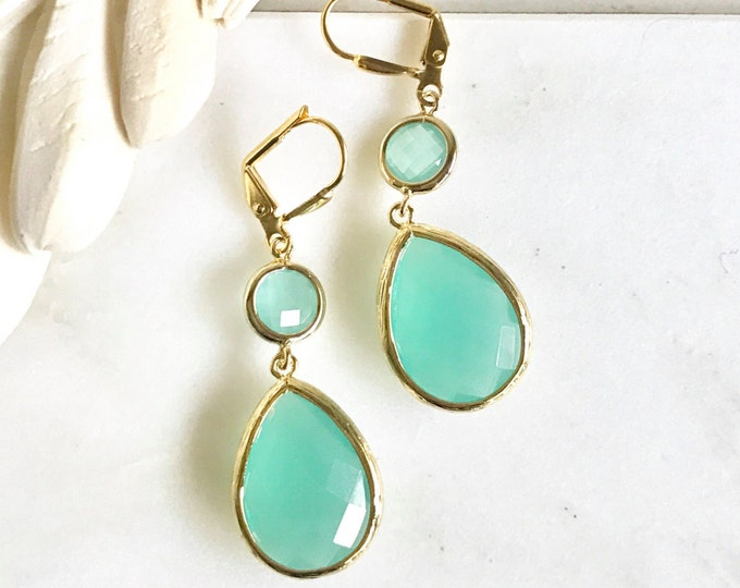 Earrings Aqua Teardrop Dangle Earrings. Fall Fashion Earrings. Turquoise Drop Earrings. Christmas Gift. Holiday Gift.
