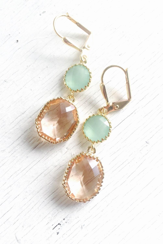 Orange Mint Drop Earrings Bridemaid Earrings Bridesmaid Jewelry Creamy Orange and Light Mint Dangle Earrings Wedding  Earrings. SALE