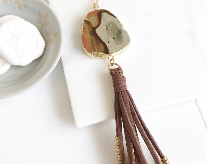Boho Tassel Necklace.  Stone and Brown Tassel Necklace. Long Brown Slice Tassel Necklace. Boho Jewelry. Unique Gift Idea.