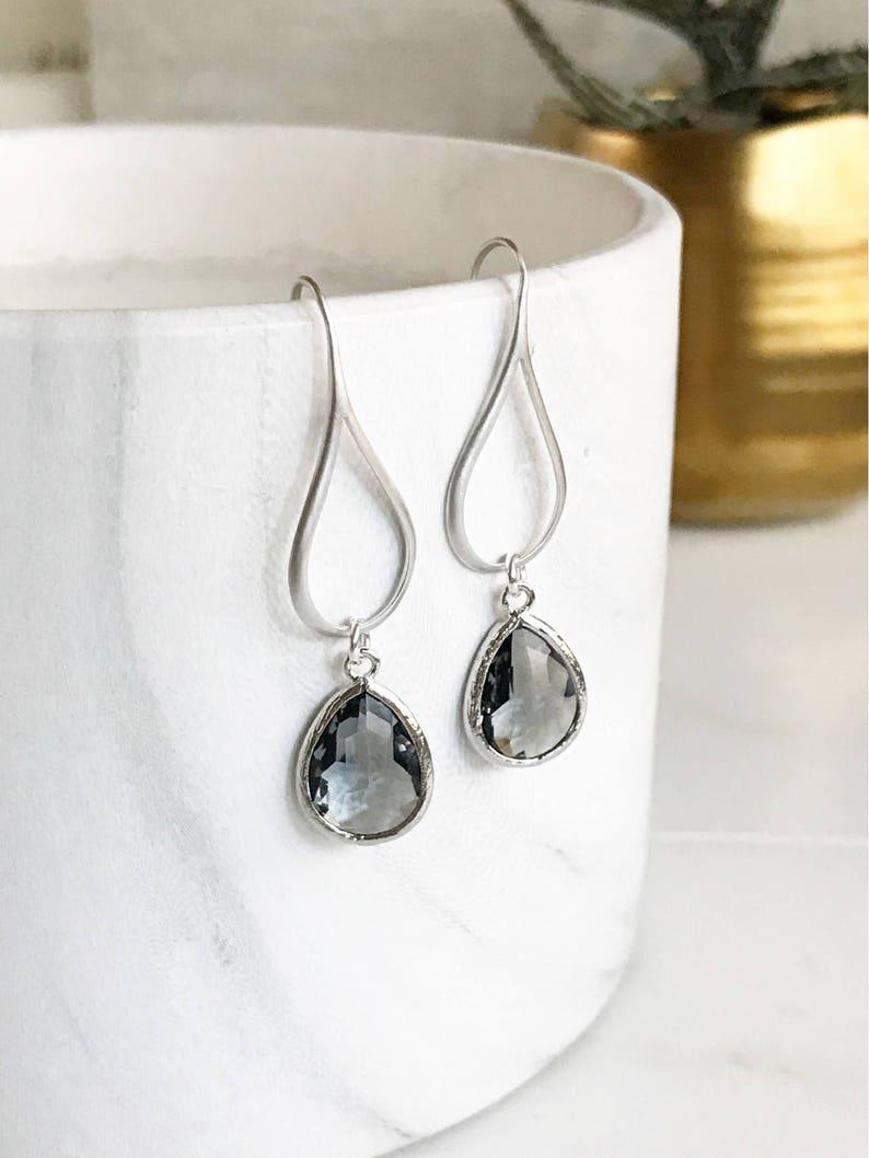 Silver Charcoal Drop Earrings.  Charcoal Grey Teardrop Drop image 0
