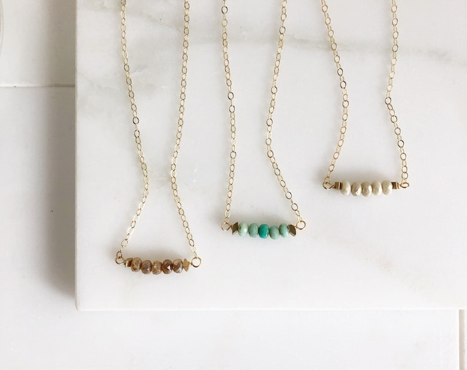 Beaded Necklace. Beaded Bar Necklace Delicate Boho Necklace. Simple Layering Necklace. Gift for Her. Dainty Beaded Necklace.