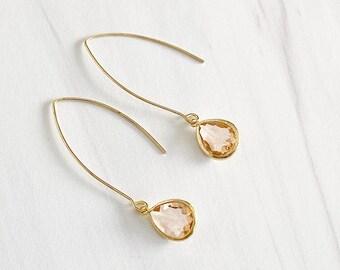 Gold Champagne Drop Earrings. Bridesmaid Gift. Drop Earrings. Wedding Jewelry. Simple Earrings Christmas Gift. Dangle Earrings. Jewelry Gift