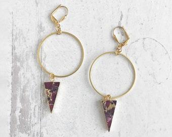 Red Mojave Triangle Drop Hoop Earrings. Gold Geometric Statement Earrings. Gold Hoop Earrings