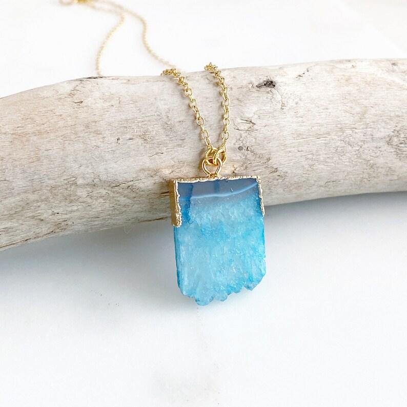 Teal Druzy Necklace. Geode Necklace. Druzy Jewelry. Stone image 0