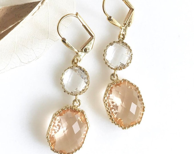 Champagne Dangle Earrings.  Drop. Bridesmaid Earrings. Dangle Earrings. Drop Earrings. Wedding Jewelry. Bridal Jewelry. Bridesmaids Gift.
