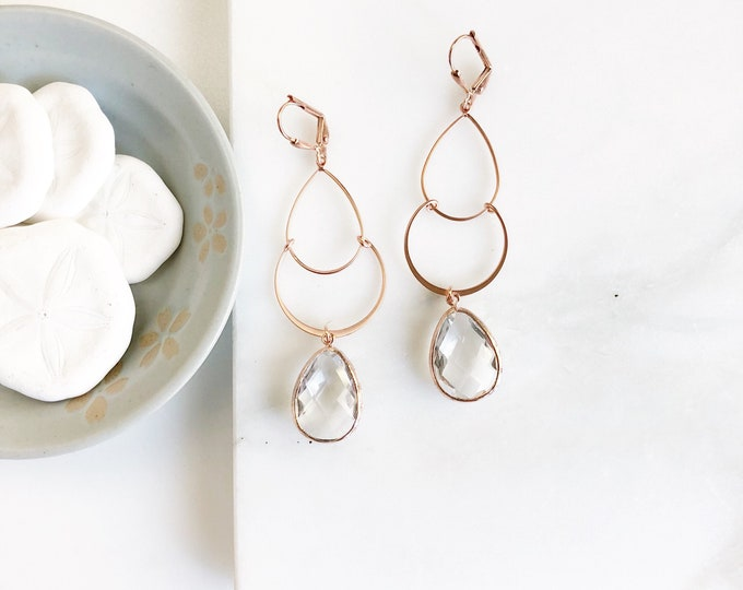 Long Rose Gold Earrings with Clear Teardrop Stones. Rose Gold Earrings. Rose Gold Dangle Earrings. Jewelry Gift.