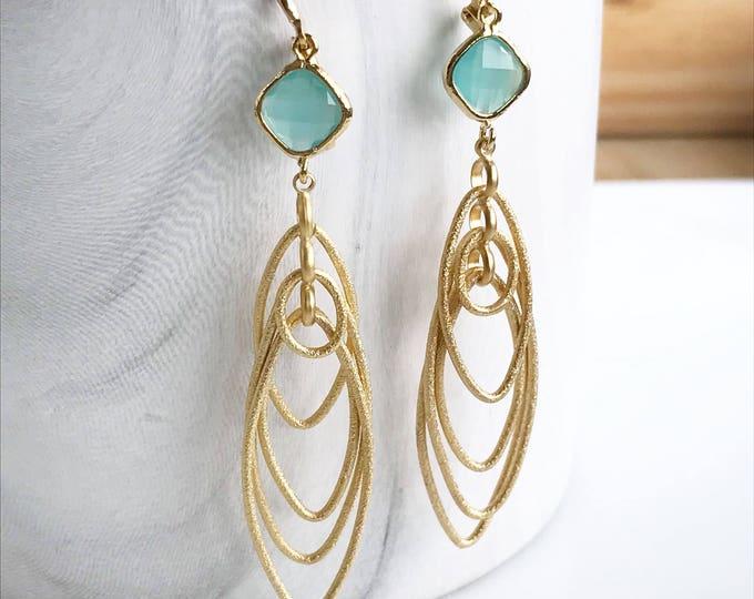 Turquoise Chandelier Teardrop Earrings.  Long Dangle Earrings.  Statement Earrings. Jewelry Gift. Modern Fashion Drop Earrings. Chandelier.