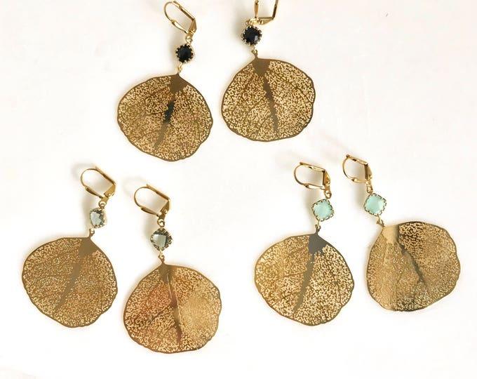 Gold Chandelier Leaf Earrings.  Dangle Earrings.  Statement Earrings. Jewelry Gift. Modern Fashion Drop Earrings. Chandelier Earrings Gift.