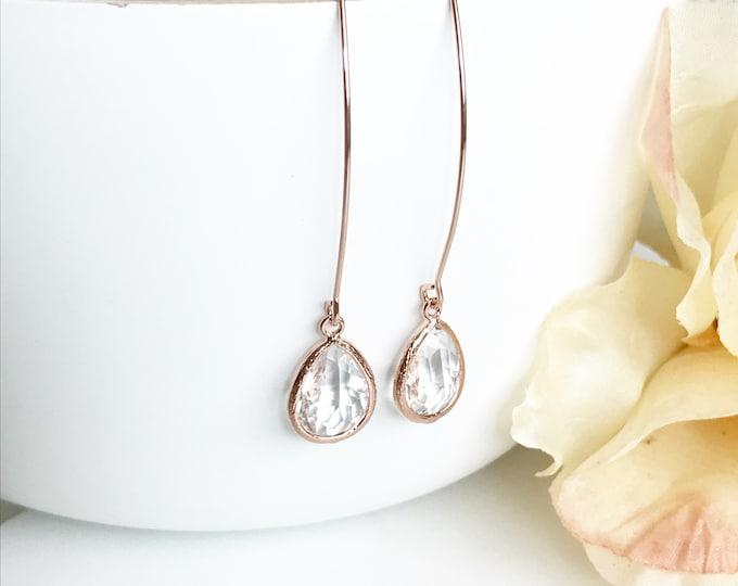 Rose Gold and Clear Stone Drop Earrings. Bridesmaid Gift. Rose Gold Drop Earrings. Wedding Jewelry. Simple Earrings. Dangle Earrings. Gift.