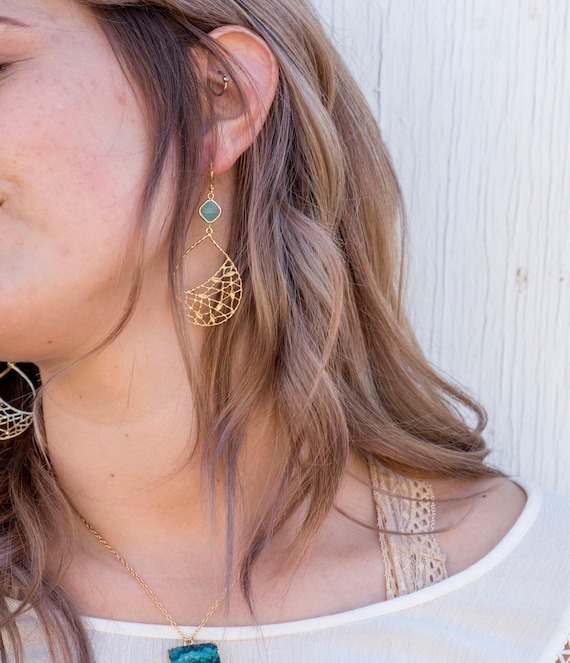 Gift Ideas,Thanksgiving GIfts Long Gold Dangle Earrings Gold Chandelier Earrings Turquoise Hammered Earrings Gold Filigree Jewelry